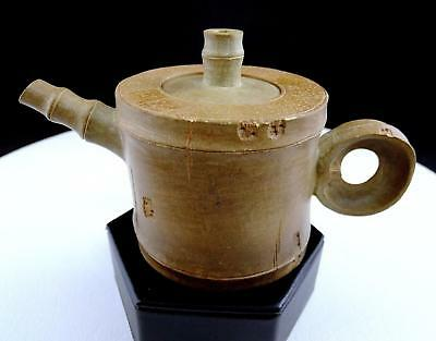 """Asian Antique Stoneware Bamboo Shaped Spout And Finial 3 1/4"""" Individual Teapot"""
