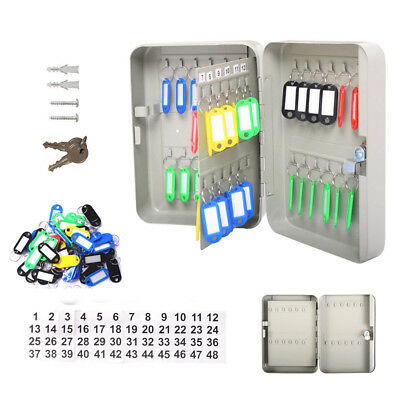 48 Key Storage Cabinet Safe Wall Mount Lock Box Hook Organizer Holder  Security