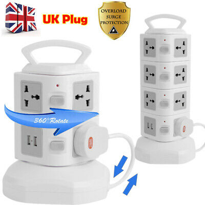 2M 8 Way Extension Lead Cable Surge Protected Tower Power Socket with USB Port