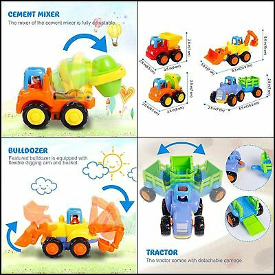 Friction Powered Cars, Push and Go Toy Trucks Construction Vehicles Toys Set