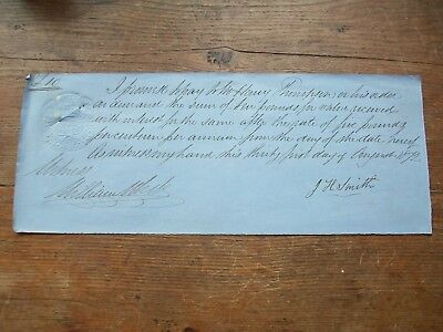 1872, £10 Promissory Note: Thompson. Grantham, Lincolnshire - J.h.smith