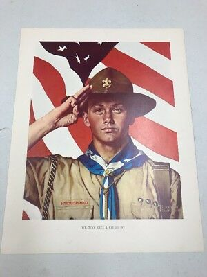 Vtg Norman Rockwell Boy Scout Print Through The Eyes Of Job To Do