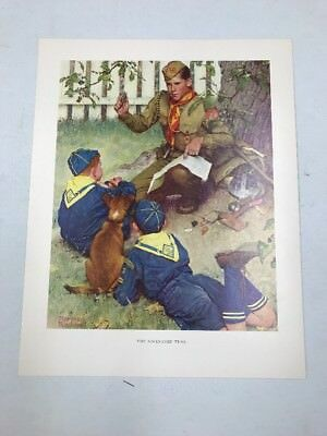Vtg Norman Rockwell Boy Scout Print Through The Eyes Of Adventure Trail
