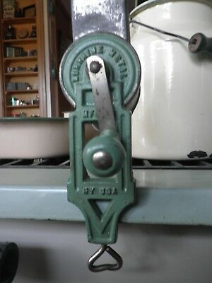 Vintage Lorraine Metal Green Nut Grinder Cast Iron Table Mount 8""