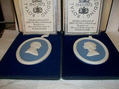 Wedgwood Jasperware Queen Elizabeth II/Duke Of Edinburgh Medallions 1947-1972