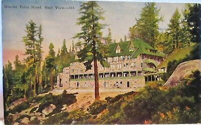 1933 Postcard Glacier Point Hotel, Rear View,yosemite National Park