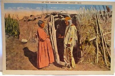 1940s POSTCARD AT THE INDIAN MEDICINE LODGE