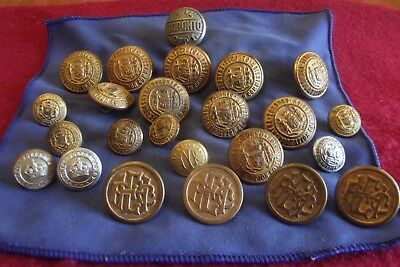 Twenty Four Vintage Buttons To The Toronto Fire, Police And Transit Commission