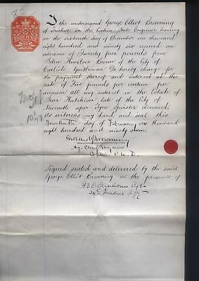 1897; UK8d REVENUE on SECURITY LOAN agreement, George E Browning, COCHIN, India