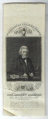 "1845 Andrew Jackson Picture Memorial Ribbon ""in Memory Of Departed Worth"""