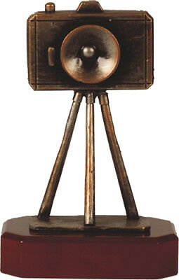 METAL PHOTOGRAPHY CAMERA TROPHY *FREE ENGRAVING* 215mm (H) UNIQUE PEWTER WOOD