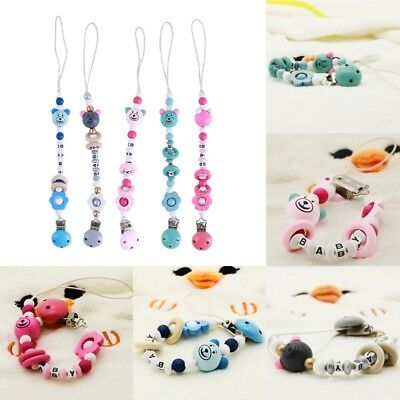 Useful Silicone Bear Beads Baby Pacifier Chain Holder Nipples Dummy Clips Strap