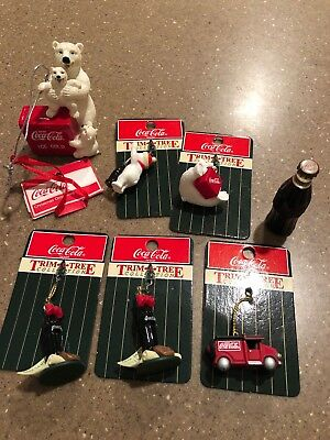 Lot of 7 COCA COLA Coke TRIM-A-TREE MINIATURE ORNAMENTS Polar Bears Bottle truck