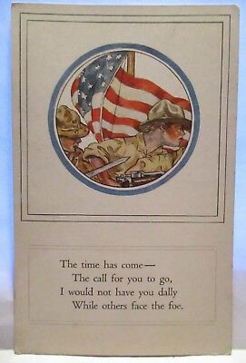 Wwi Patriotic Postcard The Time Has Some To Call You To Go  U.s. Soldiers, Flag