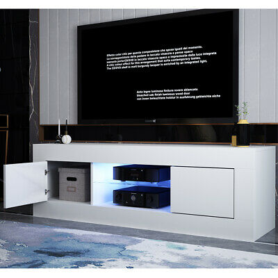 TV Stand With Cabinet Unit Sideboard Matt body High Gloss Door LED Lighting Home