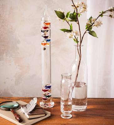 """NEWColorful Law of Physics Indoor Glass Galileo Thermometer, 21"""" H x 2"""" Diameter"""