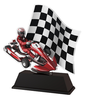 GO KARTING RACING PARTY TROPHY CUT SHAPE ACRYLIC *FREE ENGRAVING* 100mm COLOUR