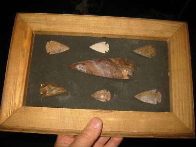 "Large Arrowhead Deep South Fl Ga Al FRAMED LOT LARGEST ONE 4 1/2""  (7)"