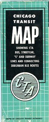 "Chicago Transit Authority, 1955 large system map, 36"" X 24"", Streetcar, rapid tr"
