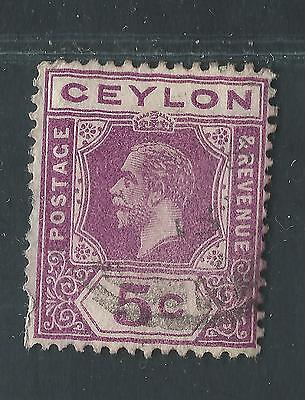 CEYLON used Scott 203, SG 303 5ct red violet George V