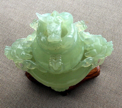 Gorgeous Nephrite Carved Detailed Dragon Statue Bowl Green Jade Asian Sculpture