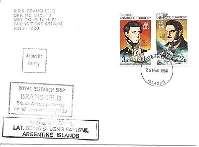 Bat 1980 Antarctic Faraday Base Argentine Islands R.r.s. Bransfield Cover To Uk