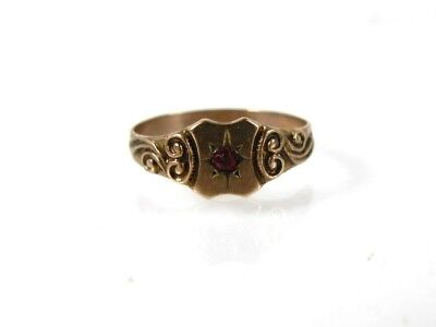 Antique Victorian 10k Yellow Gold Red Stone Childs Baby Band Ring