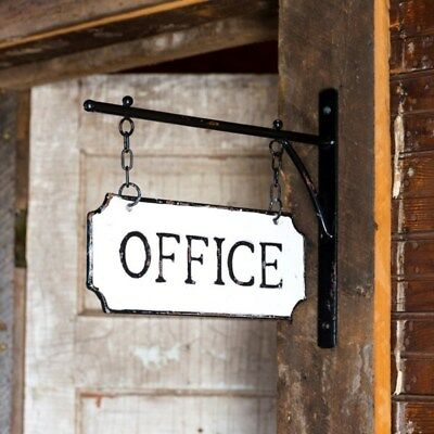 Vintage Style Shabby Rustic Hanging Metal Office Sign With Hanging Bar