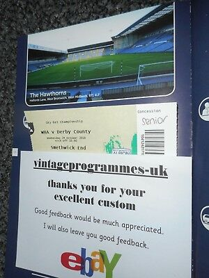 WEST BROMWICH ALBION   v  DERBY COUNTY 2018/19 ~ OCT 24 MINT UNREAD  *FREE POST*
