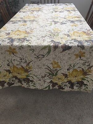 "Barkcloth Curtain Panel Exotic Flowers Design Mid 40's 43""wide X 86""long"