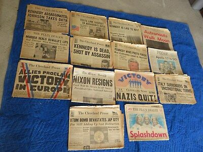 14 Vintage Historical Newspapers World War, Jfk Death, Space, Nixon