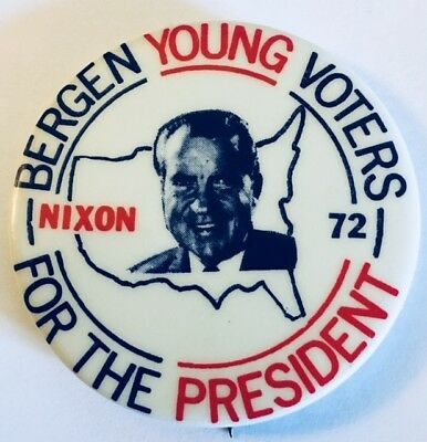 """2 1/8"""" Bergen Young Voters for the President Nixon '72 Political Campaign Pin"""
