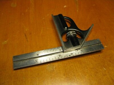 """Starrett 2-pc. Square With 4"""" Rule and Head No.4R grads Very Good Condition"""