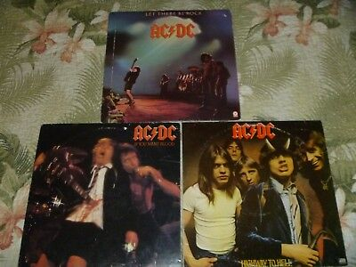 Lot 3 Vinyl Lp Album Rock Metal Ac/dc Highway To Hell If You Want Blood Let Ther