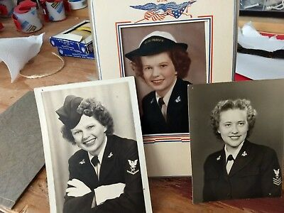 Great lot of 3 WWII USN WAVE photograhs showing patches/ insignia. 1944-45