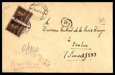 T Severin Oct 17 1943 Registered Cover With Pair To Geneve Swisse With Back Stam