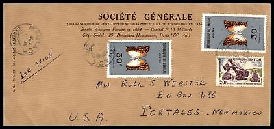 SOCIETE GENERALE SIEGE 1960s AIR MAIL AD COVER TO PORTALES NEW MEXICO USA