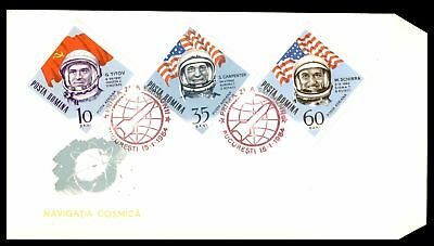 Navigatia Cosmica Astronauts Diamond Shaped Issues Combination 1964 Unsealed Fdc