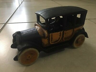 Antique Vintage Cast Iron . Arcade Orange And Black Old Model Car 8.1/2""