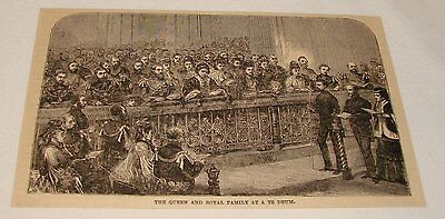 1883 magazine engraving ~ QUEEN VICTORIA AND FAMILY At A Te Deum