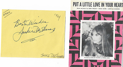 Jackie De Shannon - Vintage In Person Genuine Hand Signed Album Page With Image.