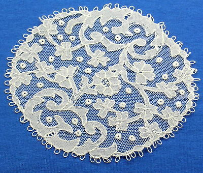 Antique Handmade Carrickmacross Lace Doily Coaster