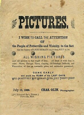 1886 Broadside for Traveling Photographer Charles Olin at Potterville, Michigan