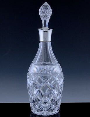 CLASSIC ELEGANT c1940 BIRKS CUT CRYSTAL GLASS & STERLING SILVER WHISKEY DECANTER