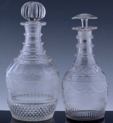 2 VERY FINE LATE 18th EARLY 19thC GEORGIAN RING NECK CUT GLASS WHISKEY DECANTERS