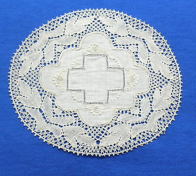 Unusual Antique Handmade Flanders Bobbin Lace Doily Coaster