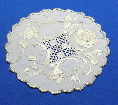Antique Handmade Silk Society   Embroidered Lace Drawnwork Doily Coaster