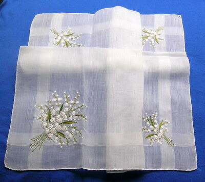 Vintage Handmade Embroidered Hanky Lily of  the Valley