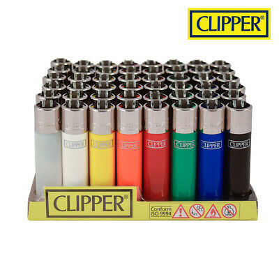 (48) Clipper Lighters with Display - Original Colors - Full Size - Refillable