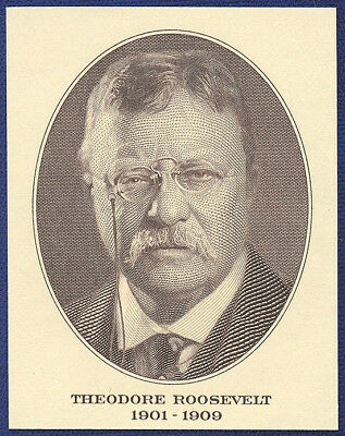 VINTAGE AMERICAN BANK NOTE Co. ENGRAVING: PRESIDENT THEODORE ROOSEVELT (125)